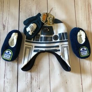 toddlers STAR WARS hat gloves & slippers set